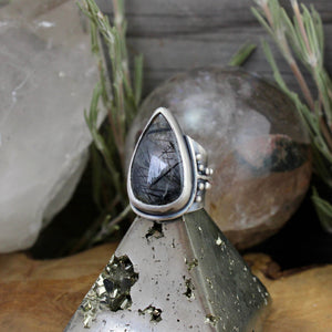 Warrior Ring // Tourmalated Quartz - SIZE 6 - Acid Queen Jewelry