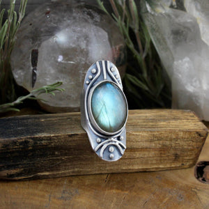 Warrior Shield Ring // Labradorite - SIZE 7 - acid-queen-jewelry, All Products - acid-queen-jewelry, vendor-unknown - acid-queen-jewelry,  Acid Queen Jewelry - acid-queen-jewelry