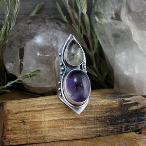 Warrior Mega Shield Ring //  Amethyst and Citrine - Size 8 - Acid Queen Jewelry