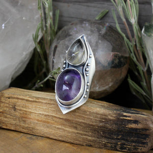 Warrior Mega Shield Ring //  Amethyst and Citrine - Size 8 - acid-queen-jewelry, [product_type] - acid-queen-jewelry, Acid Queen Jewelry - acid-queen-jewelry,  Acid Queen Jewelry - acid-queen-jewelry