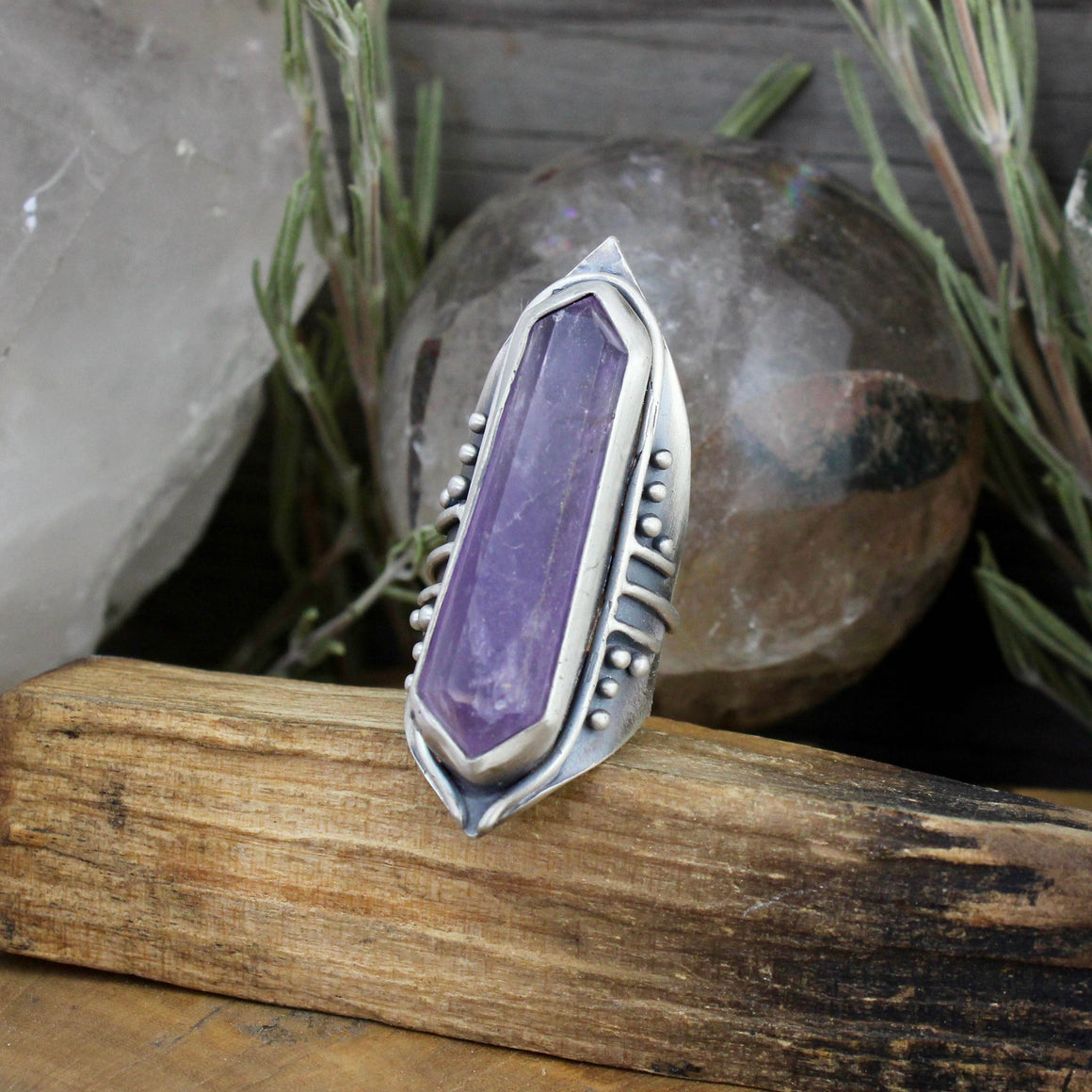 Amplifier Shield Ring // Amethyst - SIZE 8 - acid-queen-jewelry, [product_type] - acid-queen-jewelry, Acid Queen Jewelry - acid-queen-jewelry,  Acid Queen Jewelry - acid-queen-jewelry