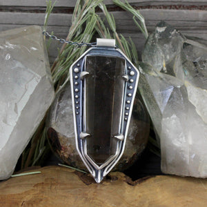 Amplifier Shield Pendant // Smokey Quartz - acid-queen-jewelry, All Products - acid-queen-jewelry, vendor-unknown - acid-queen-jewelry,  Acid Queen Jewelry - acid-queen-jewelry