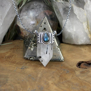 Crystal Drop Voyager Pendant // Tourmalated Quartz and Labradorite - Acid Queen Jewelry