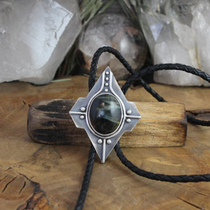 Voyager Bolo Tie // Black Tigers Eye - acid-queen-jewelry, All Products - acid-queen-jewelry, vendor-unknown - acid-queen-jewelry,  Acid Queen Jewelry - acid-queen-jewelry