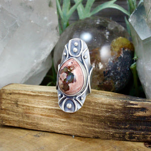 Warrior Shield Ring // Mexican Fire Opal - SIZE 8 - Acid Queen Jewelry