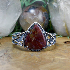 Laced Warrior Cuff // Bloodstone - acid-queen-jewelry, All Products - acid-queen-jewelry, vendor-unknown - acid-queen-jewelry,  Acid Queen Jewelry - acid-queen-jewelry
