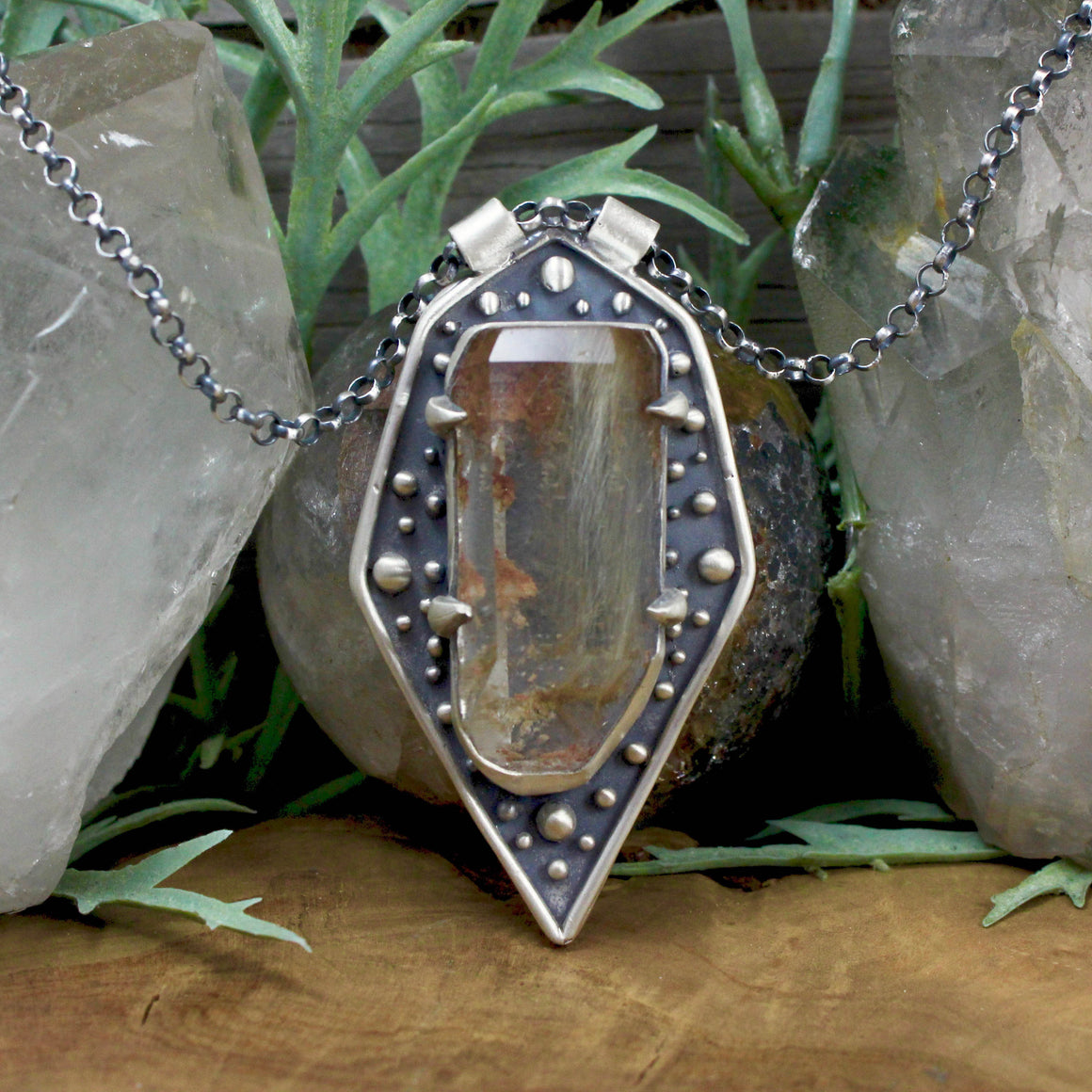 Amplifier Shield Pendant //  Rutilated Quartz - acid-queen-jewelry, All Products - acid-queen-jewelry, vendor-unknown - acid-queen-jewelry,  Acid Queen Jewelry - acid-queen-jewelry