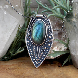 Voyager Shield Pendant // Labradorite - Acid Queen Jewelry