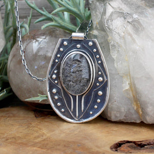 Voyager Shield Pendant // Lodolite - acid-queen-jewelry, All Products - acid-queen-jewelry, vendor-unknown - acid-queen-jewelry,  Acid Queen Jewelry - acid-queen-jewelry