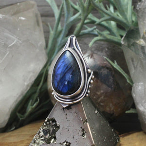 Warrior Ring // Labradorite  - SIZE 7 - acid-queen-jewelry, All Products - acid-queen-jewelry, vendor-unknown - acid-queen-jewelry,  Acid Queen Jewelry - acid-queen-jewelry