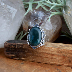 Warrior Ring // Moss Agate  - SIZE 10 - acid-queen-jewelry, All Products - acid-queen-jewelry, vendor-unknown - acid-queen-jewelry,  Acid Queen Jewelry - acid-queen-jewelry