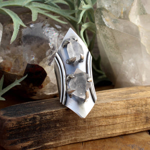 Warrior Captured Double Stone Ring // Raw Quartz- SIZE 8 - acid-queen-jewelry, All Products - acid-queen-jewelry, vendor-unknown - acid-queen-jewelry,  Acid Queen Jewelry - acid-queen-jewelry