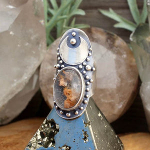 Warrior Moon Shield Ring // Lodolite  - SIZE 7 - Acid Queen Jewelry