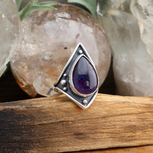 Warrior Ring // Amethyst - SIZE 8 - acid-queen-jewelry, All Products - acid-queen-jewelry, vendor-unknown - acid-queen-jewelry,  Acid Queen Jewelry - acid-queen-jewelry