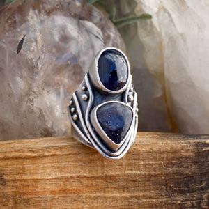 Warrior Double Stone Ring // Kyanite & Iolite- SIZE 9 - acid-queen-jewelry, All Products - acid-queen-jewelry, vendor-unknown - acid-queen-jewelry,  Acid Queen Jewelry - acid-queen-jewelry