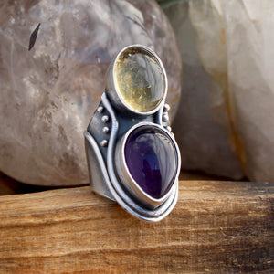 Warrior Double Stone Ring // Lemon Quartz & Amethyst- SIZE 6 - acid-queen-jewelry, All Products - acid-queen-jewelry, vendor-unknown - acid-queen-jewelry,  Acid Queen Jewelry - acid-queen-jewelry