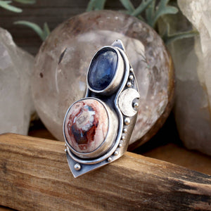 Mega Warrior Moon Shield Ring // Kyanite and Mexican Fire Opal  - SIZE 8 - acid-queen-jewelry, All Products - acid-queen-jewelry, vendor-unknown - acid-queen-jewelry,  Acid Queen Jewelry - acid-queen-jewelry