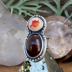 Oracle Ring //  Carnelian and Mexican Fire Opal - SIZE 7 - acid-queen-jewelry, All Products - acid-queen-jewelry, vendor-unknown - acid-queen-jewelry,  Acid Queen Jewelry - acid-queen-jewelry