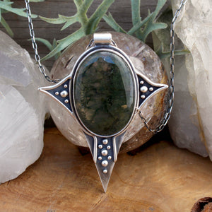 Voyager Pendant // Moss Agate - acid-queen-jewelry, All Products - acid-queen-jewelry, vendor-unknown - acid-queen-jewelry,  Acid Queen Jewelry - acid-queen-jewelry