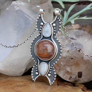 Voyager Triple Moon Goddess // Moonstone and Rutilated Quartz - acid-queen-jewelry, All Products - acid-queen-jewelry, vendor-unknown - acid-queen-jewelry,  Acid Queen Jewelry - acid-queen-jewelry