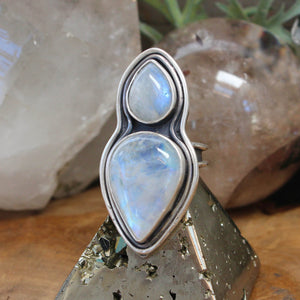 Oracle Ring //  Double Rainbow Moonstone - Size 8.5 - acid-queen-jewelry, All Products - acid-queen-jewelry, vendor-unknown - acid-queen-jewelry,  Acid Queen Jewelry - acid-queen-jewelry