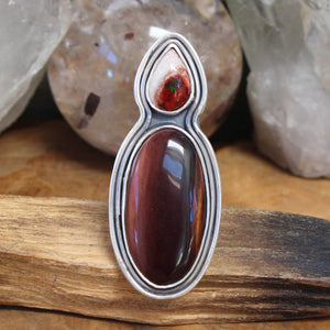 Oracle Ring // Red Tigers Eye and Mexican Fire Opal - Size 9.25 - acid-queen-jewelry, All Products - acid-queen-jewelry, vendor-unknown - acid-queen-jewelry,  Acid Queen Jewelry - acid-queen-jewelry