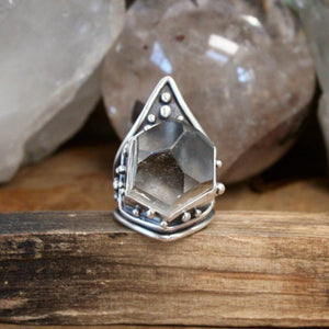 Mega Warrior Ring // Smoky Quartz Point - Size 9 - acid-queen-jewelry, All Products - acid-queen-jewelry, vendor-unknown - acid-queen-jewelry,  Acid Queen Jewelry - acid-queen-jewelry