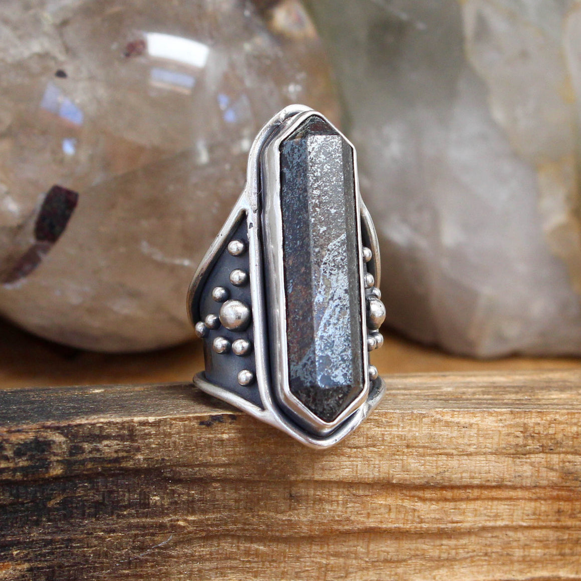 Amplifier Half Shield Ring // Hematite - Size 7 - acid-queen-jewelry, [product_type] - acid-queen-jewelry, Acid Queen Jewelry - acid-queen-jewelry,  Acid Queen Jewelry - acid-queen-jewelry