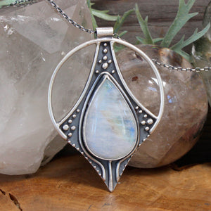 Conjurer Pendant // Rainbow Moonstone - acid-queen-jewelry, All Products - acid-queen-jewelry, vendor-unknown - acid-queen-jewelry,  Acid Queen Jewelry - acid-queen-jewelry