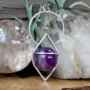 Crystal Ball Pendant // Amethyst - Acid Queen Jewelry