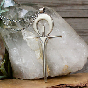 Ankh Pendant // White Bronze + Sterling Silver - acid-queen-jewelry, All Products - acid-queen-jewelry, vendor-unknown - acid-queen-jewelry,  Acid Queen Jewelry - acid-queen-jewelry
