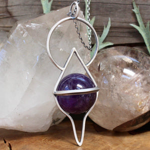 Crystal Ball Pendant // Amethyst - acid-queen-jewelry, All Products - acid-queen-jewelry, vendor-unknown - acid-queen-jewelry,  Acid Queen Jewelry - acid-queen-jewelry