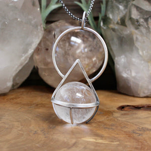 Crystal Ball Pendant // Included Clear Quartz - acid-queen-jewelry, All Products - acid-queen-jewelry, vendor-unknown - acid-queen-jewelry,  Acid Queen Jewelry - acid-queen-jewelry