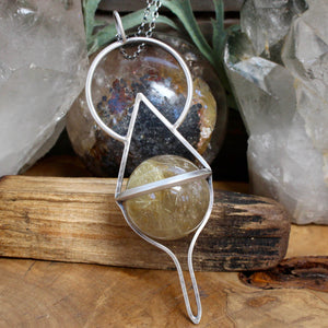 Crystal Ball Pendant // Rutilated Quartz - acid-queen-jewelry, All Products - acid-queen-jewelry, vendor-unknown - acid-queen-jewelry,  Acid Queen Jewelry - acid-queen-jewelry