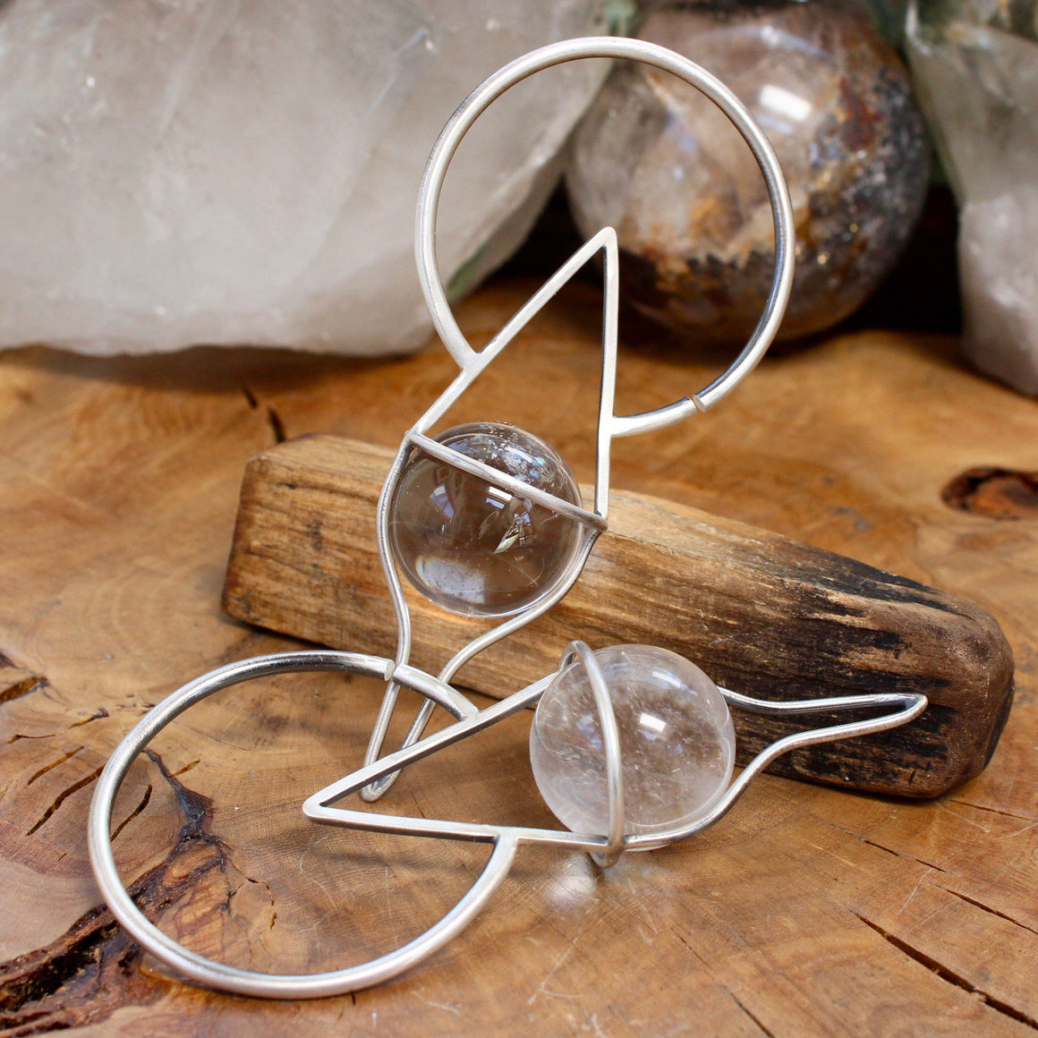 Crystal Ball Ear Weights // Clear Quartz - acid-queen-jewelry, All Products - acid-queen-jewelry, vendor-unknown - acid-queen-jewelry,  Acid Queen Jewelry - acid-queen-jewelry