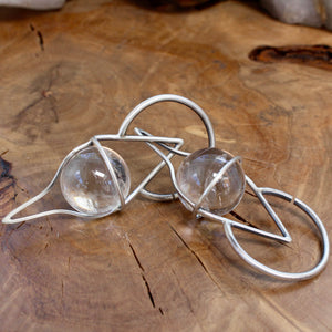 Crystal Ball Ear Weights // Clear Quartz - Acid Queen Jewelry