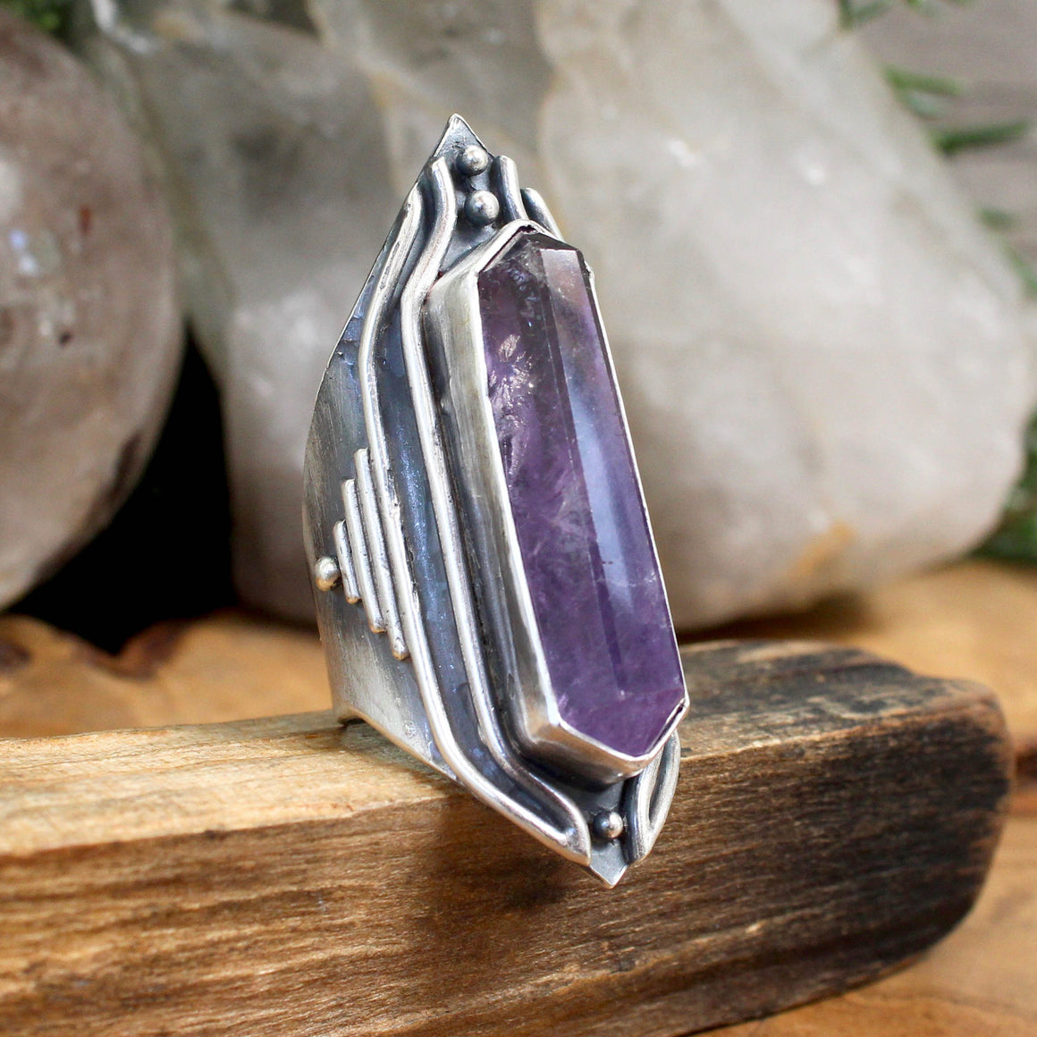 Amplifier Ring // Amethyst- Size 9 - acid-queen-jewelry, [product_type] - acid-queen-jewelry, Acid Queen Jewelry - acid-queen-jewelry,  Acid Queen Jewelry - acid-queen-jewelry