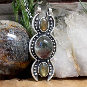 Triple Moon Voyager Pendant // Lodolite  & Labradorite - acid-queen-jewelry, All Products - acid-queen-jewelry, vendor-unknown - acid-queen-jewelry,  Acid Queen Jewelry - acid-queen-jewelry