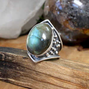 Warrior Ring // Labradorite - Size 9 - acid-queen-jewelry, All Products - acid-queen-jewelry, vendor-unknown - acid-queen-jewelry,  Acid Queen Jewelry - acid-queen-jewelry