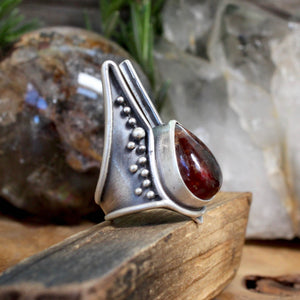 Warmaster Ring // Carnelian- Size 7 - acid-queen-jewelry, All Products - acid-queen-jewelry, vendor-unknown - acid-queen-jewelry,  Acid Queen Jewelry - acid-queen-jewelry