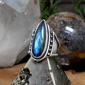 Warrior Ring // Labradorite - Size 10 - acid-queen-jewelry, All Products - acid-queen-jewelry, vendor-unknown - acid-queen-jewelry,  Acid Queen Jewelry - acid-queen-jewelry