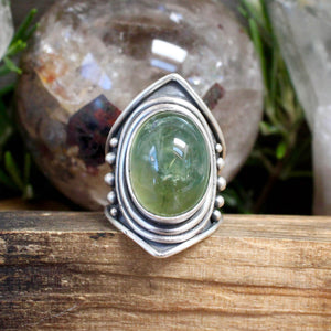 Warrior Ring // Prehnite - Size 8 - acid-queen-jewelry, All Products - acid-queen-jewelry, vendor-unknown - acid-queen-jewelry,  Acid Queen Jewelry - acid-queen-jewelry