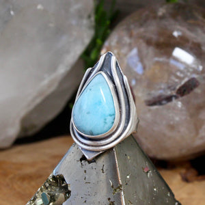 Warrior Ring // Larimar - Size 6 - acid-queen-jewelry, All Products - acid-queen-jewelry, vendor-unknown - acid-queen-jewelry,  Acid Queen Jewelry - acid-queen-jewelry