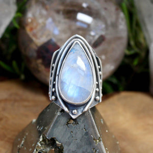 Warrior Ring // Rainbow Moonstone - Size 7 - acid-queen-jewelry, All Products - acid-queen-jewelry, vendor-unknown - acid-queen-jewelry,  Acid Queen Jewelry - acid-queen-jewelry