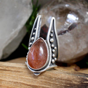 Warmaster Ring // Sunstone  - Size 7 - acid-queen-jewelry, All Products - acid-queen-jewelry, vendor-unknown - acid-queen-jewelry,  Acid Queen Jewelry - acid-queen-jewelry
