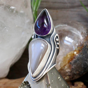 Warrior Shield Ring // Peach Moonstone and Amethyst- Size 8 - Acid Queen Jewelry