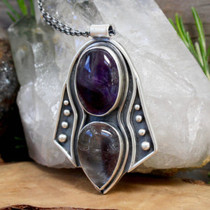 Voyager Necklace // Amethyst and Hematoid Quartz - Acid Queen Jewelry