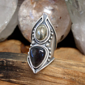 Warrior Shield Ring // Iolite Sunstone and Pyrite- Size 9.5 - acid-queen-jewelry, All Products - acid-queen-jewelry, vendor-unknown - acid-queen-jewelry,  Acid Queen Jewelry - acid-queen-jewelry