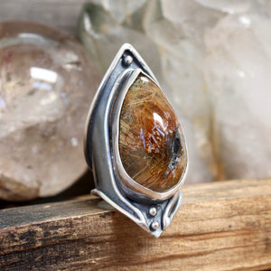 Warrior Shield Ring // Rutilated Quartz- Size 9 - Acid Queen Jewelry