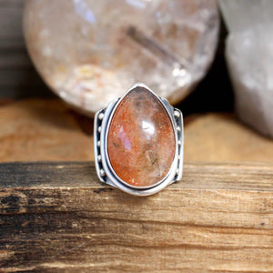 Warrior Ring // Sunstone - Size 6 - acid-queen-jewelry, All Products - acid-queen-jewelry, vendor-unknown - acid-queen-jewelry,  Acid Queen Jewelry - acid-queen-jewelry